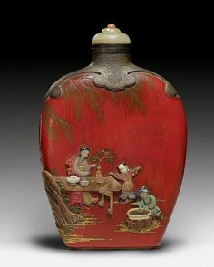 """iseo58: """" A FINE RED PAINTED WOOD SNUFF BOTTLE WITH STONE INLAYS. China Google search """""""