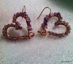Heart Earrings Wire sculpture Art Ooak by Originalsbydenise