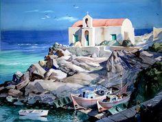 """John Pike watercolor - 'Fisherman's Chapel, Mykonos' - Full Sheet (22""""H x 30""""W)"""