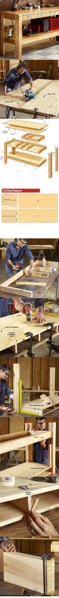 Use this simple workbench plan to build a sturdy, tough workbench that'll last for decades. It has drawers and shelves for tool storage. It's inexpensive. And even a novice can build it in one day. ( I think this could easily be painted all cute for a craft room table too!)