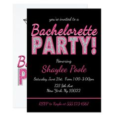 Pink Cocktail, Bachelorette Party Invitations