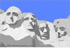 Enchanted Learning provides information about the Presidents and the history of Mt. There are also some coloring printouts as well! Classroom Crafts, Preschool Crafts, Activities To Do, Summer Activities, Enchanted Learning, Patriots Day, 4th Of July Celebration, American Symbols, Presidents Day