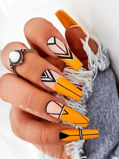 Line Nail Designs, Cute Acrylic Nail Designs, Best Acrylic Nails, Yellow Nails Design, Yellow Nail Art, Pastel Yellow, Neon Yellow, Stylish Nails, Trendy Nails