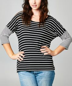 This Black & White Stripe Cutout Top - Plus by Tua Plus is perfect! #zulilyfinds