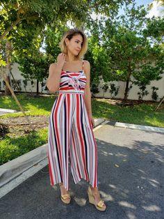 Striped wide leg jumpsuit. Fashion Boutique, Wide Leg, Jumpsuit, Legs, Dresses, Style, Overalls, Vestidos, Swag