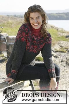 Lava / DROPS - Free knitting patterns by DROPS Design You are in the right place about zopfmu Fair Isle Knitting Patterns, Knitting Designs, Knit Patterns, Drops Design, Knitted Coat, Knitted Gloves, Double Knitting, Free Knitting, Norwegian Knitting