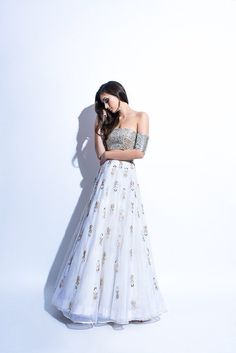 Indian Style Modern Embroidered Lehnga with Off Shoulder Blouse – Designers Outfits Collection Indian Wedding Outfits, Pakistani Outfits, Indian Outfits, Emo Outfits, Casual Outfits, Indian Attire, Indian Wear, Indian Style, Bride Indian