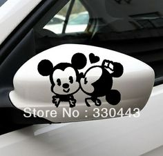 Free Shpping kissing mickey mouse car decal stickers on Car Rearview Sticker Reflective Stickercute car sticker $4.50