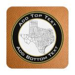 Custom Faux Leather Background with Texas Map Coaster #Texas