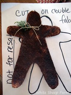 No sew prim gingerbread man--White Sheep Farm: Christmas