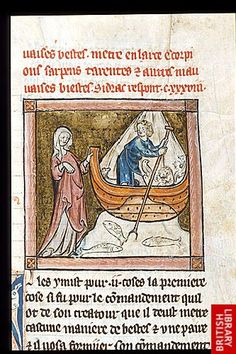 Detail of a miniature of a man in a boat with animals, with a woman holding the prow, at the beginning of chapter 138.   Origin:France, N.