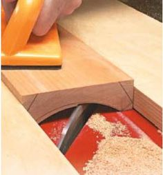 Table saw jig for cove cutting.