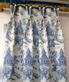 Toile panels with short double pleat & velvet piping at top of header. There would be lots and lots of blue and white toile in my fantasy home. Toile Curtains, Curtains And Draperies, Drapery Panels, Bedroom Curtains, Valances, Custom Drapes, Custom Windows, Curtain Styles, Custom Window Treatments