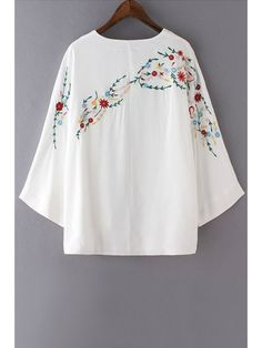 Floral Embroidery Long Sleeve Blouse - WHITE M Mobile