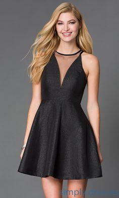 39192e8cd7 Glitter-Print Short V-Neck Dress with Sheer Bodice