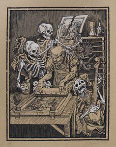 "Phineas X. Jones ""Death and the Screenprinter"" Serigraph Phineas, Dance Of Death, Silk Screen Printing, Screen Printer, Screen Print Poster, Danse Macabre, Artist Art, Unique Art, New Art"