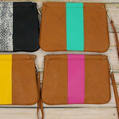Color Block Stripe Clutch - Jade, Pink, Yellow or Snakeskin