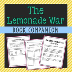 The Lemonade War by Jacqueline Davies Book Companion Novel Study. This novel unit includes vocabulary terms, poetry, author biography research, themes, character traits, chapter summary, and note taking activities. If you're looking for a complete book unit that is full of higher-level activities and NOT boring multiple choice tests, then this is it!