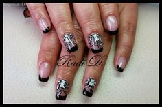 It`s all about nails: Black french with white flowers http://radi-d.blogspot.com/2015/02/black-french-with-white-flowers.html