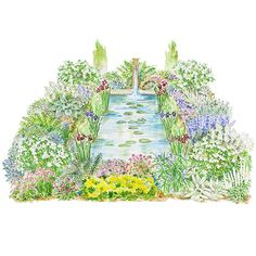 Retreat by a Pond  Water is a surefire way to attract all kinds of garden visitors. This plan, which is centered around a pond, also offers a restful vista for human inhabitants. Garden size: 34 by 24 feet.  Download a free detailed Planting Guide for this garden