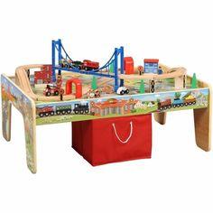 kids Train Table Set 50-Piece 2-in-1 Table Reversible Top & Cloth Storage Bin #Maxim