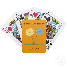 Personalized Yellow and Blue Daisy Flowers Wedding Playing Cards #wedding #playingcards #personalized #reception #favors