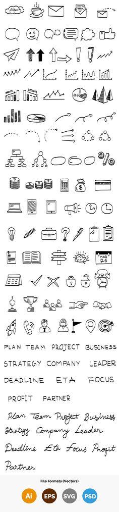 100+ Business Vector Doodle Elements