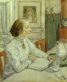 My Eldest Daughter, Carl Larsson   Larsson was a Swedish painter and interior designer, representative of the Arts and Crafts Movement. His many paintings include oil, watercolors, and frescoes. He considered his finest work to be Midvinterblot (Midwinter Sacrifice), a large wall mural now displayed inside the Swedish National Museum of Fine Arts. (1853-1919). Wikipedia