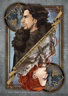 Uma série de ilustrações de Game Of Thrones de diferentes autores e estilos.