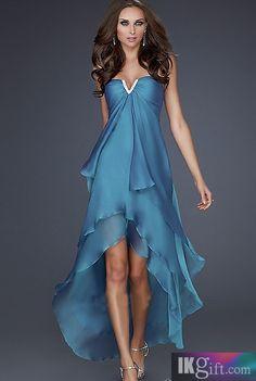 A-Line V-Neck Chiffon High Low Length Long Prom Dress - Bridesmaids Dresses - Wedding Party Dresses - Wedding & Events