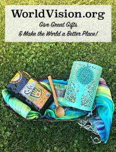 Enter to win this fabulous prize pack to keep for yourself or give to your loved ones from WorldVision.org. Includes a Tree of Life Votive Holder, an Upcycled Artisan Bowl, History's First Coffee Blend, a Royal Silk Scarf, a Turquoise Medallion Necklace, and a Silver Vines Cuff.