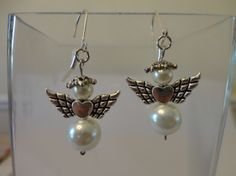 Cream White Angel Charm Earrings handmade by Angelic Strawberry