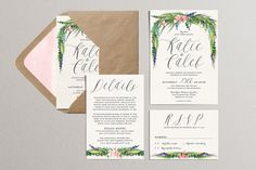 Watercolor Wedding Invitation Set, Printable DIY Wedding Suite Soft Sweeping Floral,Spring Drop Wedding Invites,Leaves Branches Pink Flowers