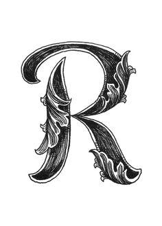 Leaf Script R Art Print