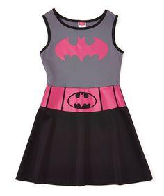 Loving this Pink & Black Batgirl A-Line Dress - Girls on #zulily! #zulilyfinds