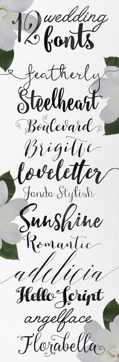 12 FONTS : Hand lettering from the best artists - Skyla Design -: Calligraphy wedding fonts - some free Wedding Calligraphy, Calligraphy Letters, Modern Calligraphy, Calligraphy Handwriting, Penmanship, Calligraphy Fonts Free, Script Fonts Free, Islamic Calligraphy, Fancy Fonts