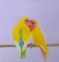 "Saatchi Online Artist: Daisy Clarke; Oil 2012 Painting ""yellow parrkeets"""