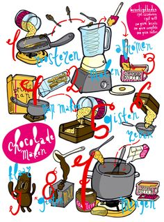 illustrated recipe for making chocolate by Mielo Pouwer