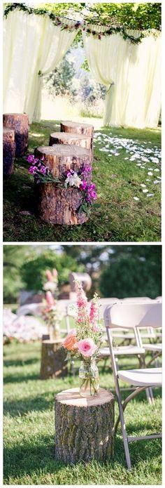 rustic tree stump wedding decor ideas / http://www.himisspuff.com/rustic-wedding-ideas-with-tree-stump/ #weddingideas