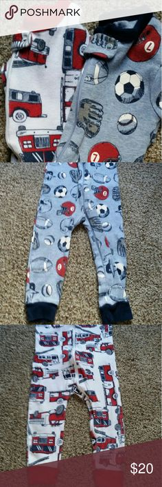 Carters sleeper bundle Perfect condition! Only worn a couple times before my baby outgrew them! Both are Carters brand. Size 18 month. One is sports theme, light blue and dark blue with some red and white. The other is fire truck theme, white and red with some blue. Both very cute and comfortable. Same style just diff design. Zip up closer, with snap closer covering zipper for comfort. Washed in organic detergent. Smoke/pet free environment. I trade. Carter's Pajamas