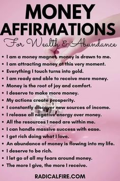 Do you want to attract money, wealth, and abundance in your life? These 111 money affirmations will help you get rich and abundant. Practicing these positive money affirmations is a great way to start your day. Activate the law of attraction, manifest ANYTHING you want in your life, and get all the wealth and abundance the universe is giving to you. Watch out: these affirmations are very powerful! #affirmations #personalgrowth #healing #happiness #lawofattraction #bossbabe #richbabe Power Of Attraction, Law Of Attraction Planner, Law Of Attraction Money, Manifestation Law Of Attraction, Positive Affirmations Quotes, Wealth Affirmations, Affirmation Quotes, Spiritual Enlightenment, Spiritual Awakening