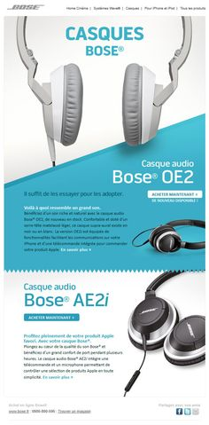 Bose email. love the bright colour and different angles used in the email