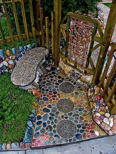 DIY river rock walkway