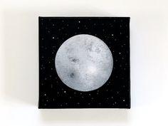 Luna 17 - Original Contemporary 6x6 Moon Painting on Canvas - Astronomy Art, Stars, Night Sky - by Natasha Newton