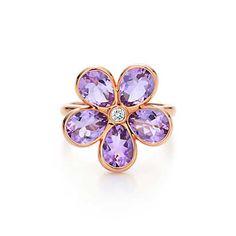 Bague Fleur Éclat en or rose 18K, améthyste et diamant.