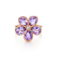 Tiffany Sparklers flower ring in 18k rose gold with amethysts and a diamond. | Tiffany & Co.