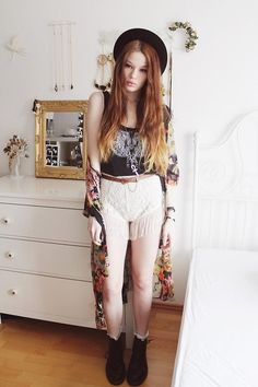 Shop this look on Kaleidoscope (shorts, top, boots)  http://kalei.do/WlkVmRFL5ME6xnJE