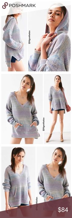 "Urban Outfitters Cooperative Aurora Sweater Hoodie Urban Outfitters Cooperative Aurora Sweater Hoodie Cozy oversized hoodie by Cooperative in a muted rainbow-stripe sweater knit. With a kangaroo pouch, long stepped hem + deep V-neck, finished with ribbed knit hems. Content + Care- Cotton, polyester    - Hand wash    - Imported    Size + Fit- Model is 5'10"" and wearing size Small    - Measurements taken from size Medium- Chest: 44""- Length: 25.5"" Purple Multi Color. #hoodiesweater Urban…"
