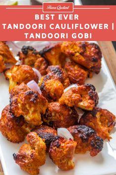 Tandoori gobi or tandoori cauliflower is my vegetarian take on the flagship recipe of Tandoori chicken and it proved to be totally mind-blowing! Best Vegetarian Recipes, Vegetarian Appetizers, Veggie Recipes, Indian Food Recipes, Vegetarian Grilling, Indian Snacks, Veggie Meals, Vegetarian Dinners, Chicken Meals