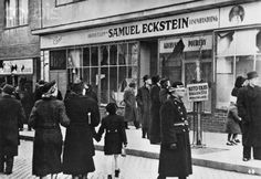 Original caption: Czechoslovakia falls more and more into decay. In Pressburg serious incidents take place between Czechs and Slovaks. The Slovaks smash the shop windows of all the Jewish businesses. New York Public Library Jewish Ghetto, Nazi Propaganda, Rich Image, Lest We Forget, France, New York Public Library, History Museum, Karate, Photo Library